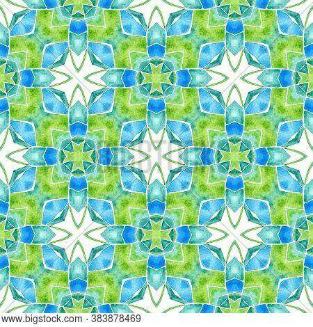 Ikat Repeating  Swimwear Design. Green Exotic Boho Chic Summer Design. Textile Ready Trending Print,