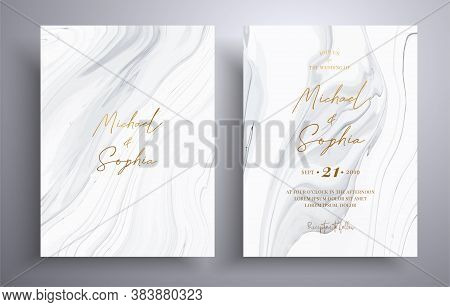 Set Of Acrylic Wedding Invitations With Stone Pattern. Agate Vector Cards With Marble Effect And Swi