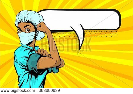 We Can Do It Woman African Doctor In Medical Mask Retro Poster. Cartoon Vintage Nurse Girl In Pop Ar