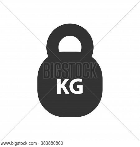 Kg Weight Mass Black Simple Flat Icon. Old Barbell Press In Flat Design. Black Silhouette Isolated O