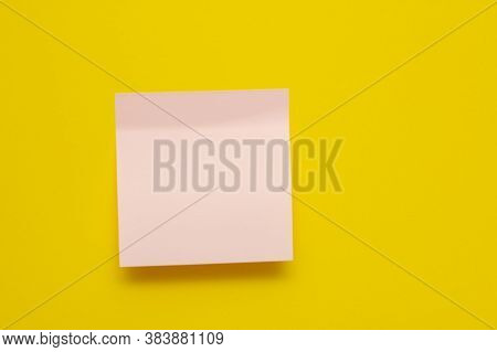 Pink Sticker On A Yellow Background. Sticker With A Sticky Edge. Sticker For Inscriptions. Copy Spac