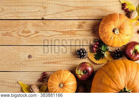 Autumn Frame Made Of Pumpkins, Dried Fall Leaves, Apples, Nuts, Pine Cones On Wooden Table. Thanksgi