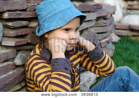 Girl Sitting And Thinking