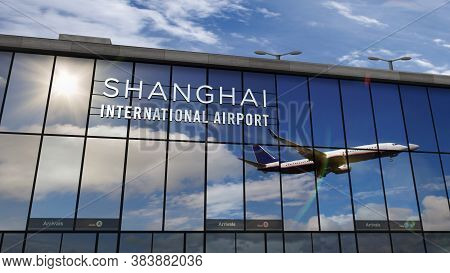 Jet Aircraft Landing At Shanghai Pudong, China 3d Rendering Illustration. Arrival In The City With T