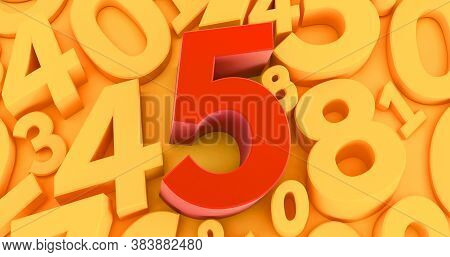 Background Of Numbers With Five Red Number  On The Middle. 3d Red Number Collection - 5. 3d Render
