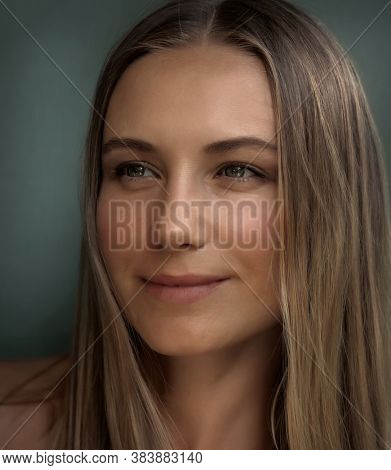 Closeup Portrait of a Beautiful Young Woman. Genuine Beauty of an Attractive Female without Makeup and Undyed Hair