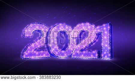 2021 Numbers. Happy New Year 2021 Banner Design. Geometric Low Poly 2021 New Year Greeting Card. 3d