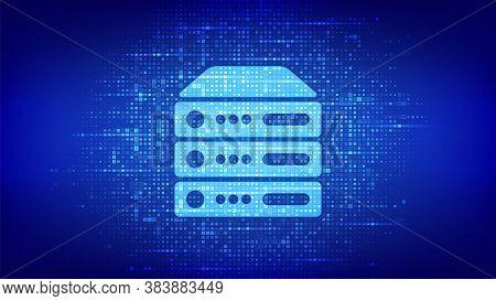 Server And Data Storage Background. Computer Server Icon Made With Binary Code. Server Hosting. Digi