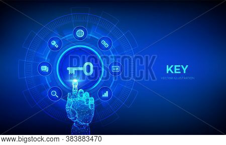 Key. Keyword. Key To Success Or Solution. Turnkey Solution And Services Technology Concept On Virtua