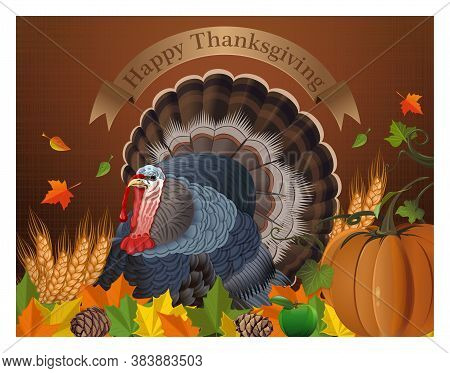 Greeting Card With Turkey For Thanksgiving Day. Autumn Background With Turkey, Wheat Ears, Pumpkin A