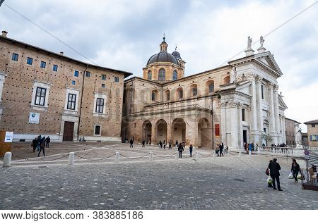 Urbino, Italy - November 3, 2013: View Of The Facade And The Cupola Of The Neoclassical Duomo Di Urb