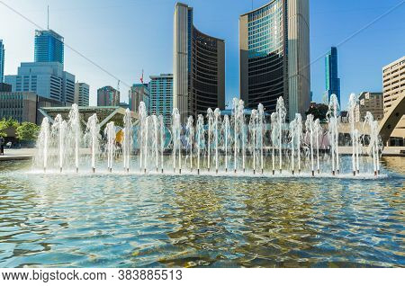 Toronto, Ontario, Canada, Jul, 24, 2019, Nice Inviting View Of Nathan Filip's Square In Downtown Are