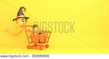 Happy Halloween Background With Cute Cartoon Ghost Wearing Witch Hat, Trolley Cart. And Gift Boxon O