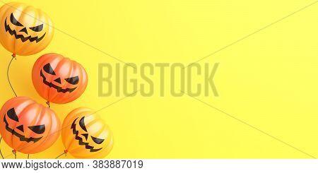 Happy Halloween Background With Pumpkin Balloons On Orange, Copy Space Text Area, Banner, Template,