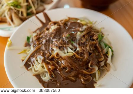 Taiwanese traditional food of sesame paste noodles in the restaurant at Taiwan