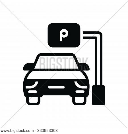 Black Solid Icon For Parking Parking-sign Automobile Haunt Roadsign Vehicle Sign-board Regulation Gu