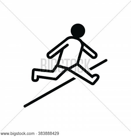 Black Solid Icon For Jump Leap Hop Spurt Prance Athletic Sports Bounce Obstacle-race Person Youth Pl