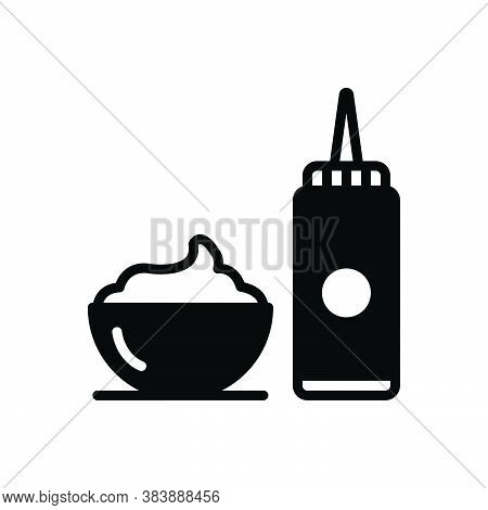 Black Solid Icon For Sauce Spice Jar Flavor Ketchup Gravy Relish Dip Sour Cream Bowl Container Desse