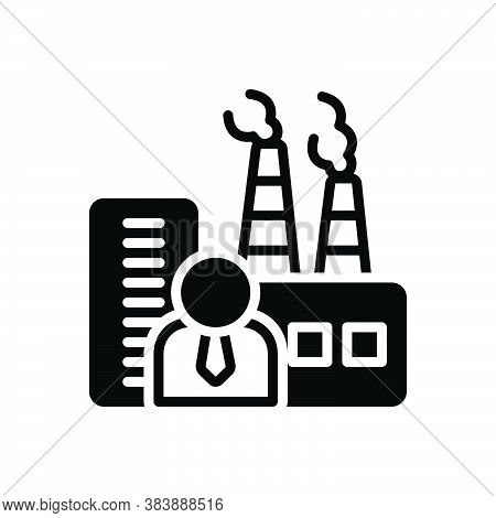 Black Solid Icon For Manufacturer Maker Producer Factory Industrialist Plant Chimney Smoke