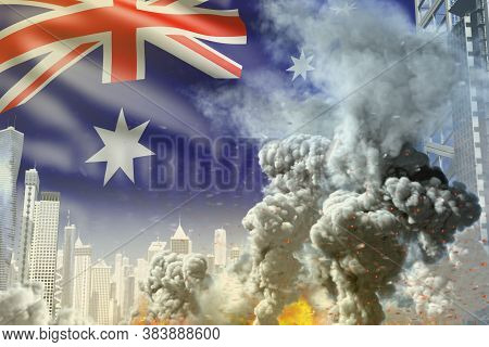 Large Smoke Pillar With Fire In The Modern City - Concept Of Industrial Blast Or Terrorist Act On Au