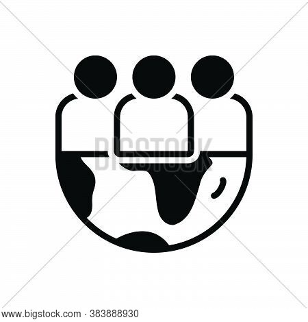 Black Solid Icon For Team Gang Group Tribe Organization Crowd World