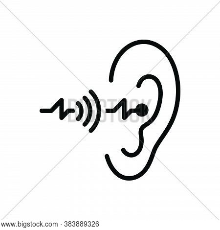 Black Solid Icon For Hearing Sense Ear Listen Hear Noise Auditory Hearken Sound Volume Acoustic Audi