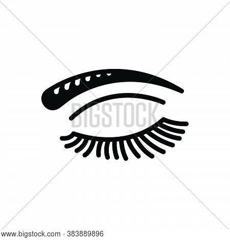 Black Solid Icon For Eye-lashes-brow Eye Lashes Brow Beautiful Makeup Clarity Beauty Close