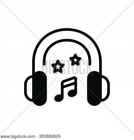 Black Solid Icon For Head-phones Head Phones Earphone Electronics Gadget Musically Concert Listening
