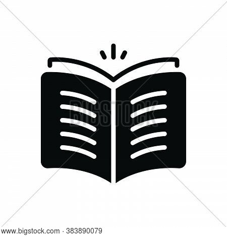 Black Solid Icon For Open-book Open Book Knowledge Magazine Library Textbook Publication Encyclopedi