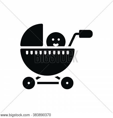Black Solid Icon For Baby-stroller Pram Baby Perambulator Pushchair Buggy Carriage Infant Care Child