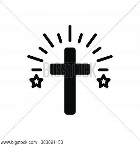 Black Solid Icon For Cross Faith Mythology Belief Bible Catholic Christ Church Religion Ritual Chris