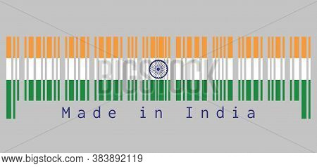 Barcode Set The Color Of India Flag, Tricolor Of India Saffron, White And Green With The Ashoka Chak