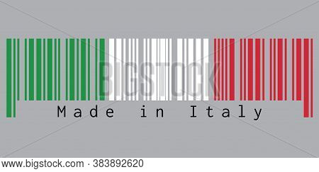 Barcode Set The Color Of Italy Flag,  Green White And Red Color With Text: Made In Italy. Concept Of