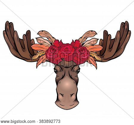 Contour Colorful Illustration Of A Moose Head With Antlers And Rose Wreath Front View. Wild Mammal.