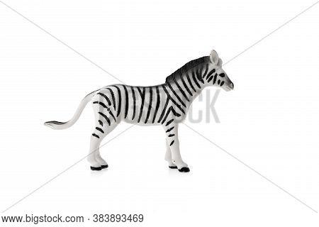Zebra Toy Isolated On White Background. Wildlife Animal.