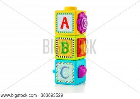 Baby Plastic Cubes Isolated On White Background. Educational Puzzle.
