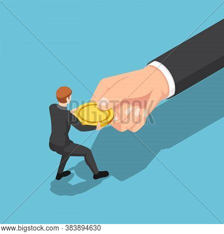 Flat 3d Isometric Businessman Fight Over And Pull Golden Coin From Big Business Hand. Fights Against