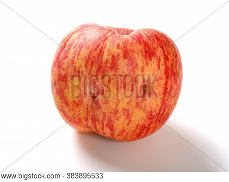 Apple With Two Dents On White Background