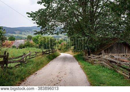 Countryside Agricultural Landscape. Country Road Through Village. Countryside Landscape. Countryside