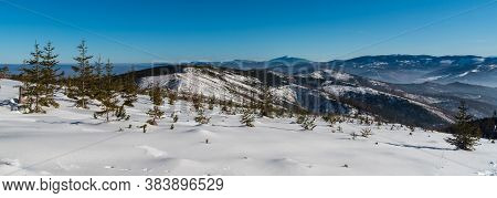 View From Magura Wislanska Hill In Beskid Slaski Mountains In Poland During Amazing Winter Day With