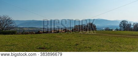Moravskoslezske Beskydy Mountan Range From Sachta Hill Summirt Near Part Of Cesky Tesin Town Named K