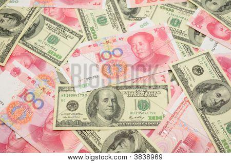 Us Dollar And China Yuan Background