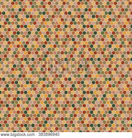 Hexagons Seamless Pattern In Autumn Palette.