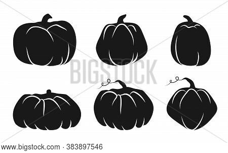 Autumn Pumpkin Glyph Icons Set With White Line. Symbol Thanksgiving And Halloween Of Holiday In Octo