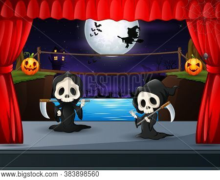 Cartoon Of Two Grim Reaper Performing On Stage