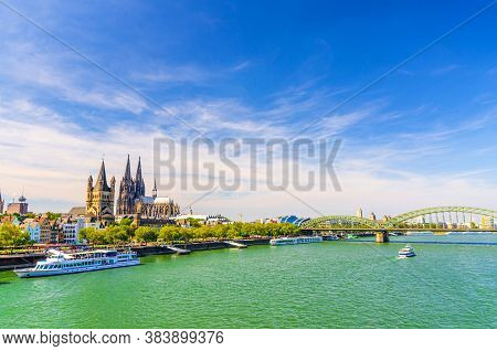 Cologne Cityscape Of Historical City Centre With Cologne Cathedral And Great Saint Martin Roman Cath