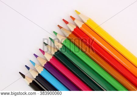 Colored Pencils On White Background. Many Different Colored Pencils. Color Pencil. Pencils Are Sharp