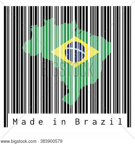 Barcode Set The Shape To Brazil Map Outline And The Color Of Brazil Flag On Black Barcode With White
