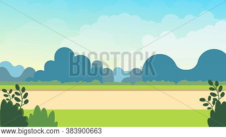 Meadow Nature Landscape On Spring.vector Illustration.nature Scene With Sky Cartoon Background.park