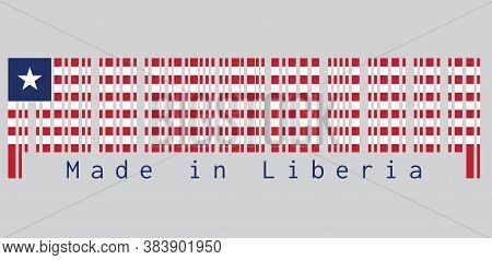 Barcode Set The Color Of Liberia Flag, Eleven Horizontal Stripes Of Red And White With White Star On